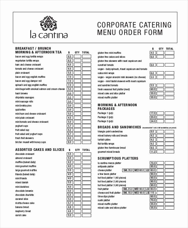Catering order forms Template New 16 Catering order forms Ms Word Numbers Pages