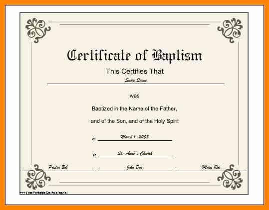 Catholic Baptism Certificate Template Beautiful 6 Baptismal Certificate Template