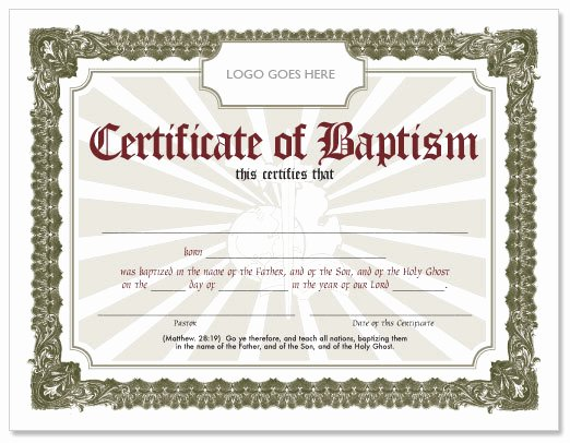 Catholic Baptism Certificate Template Elegant Free Baptism Certificate Hmong American Baptist Church