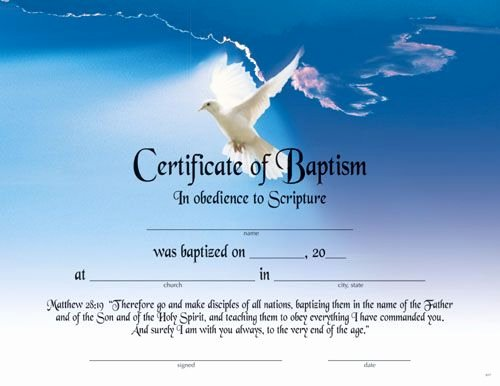 Catholic Baptism Certificate Template Fresh Printable Fillable Certificate Of Baptism