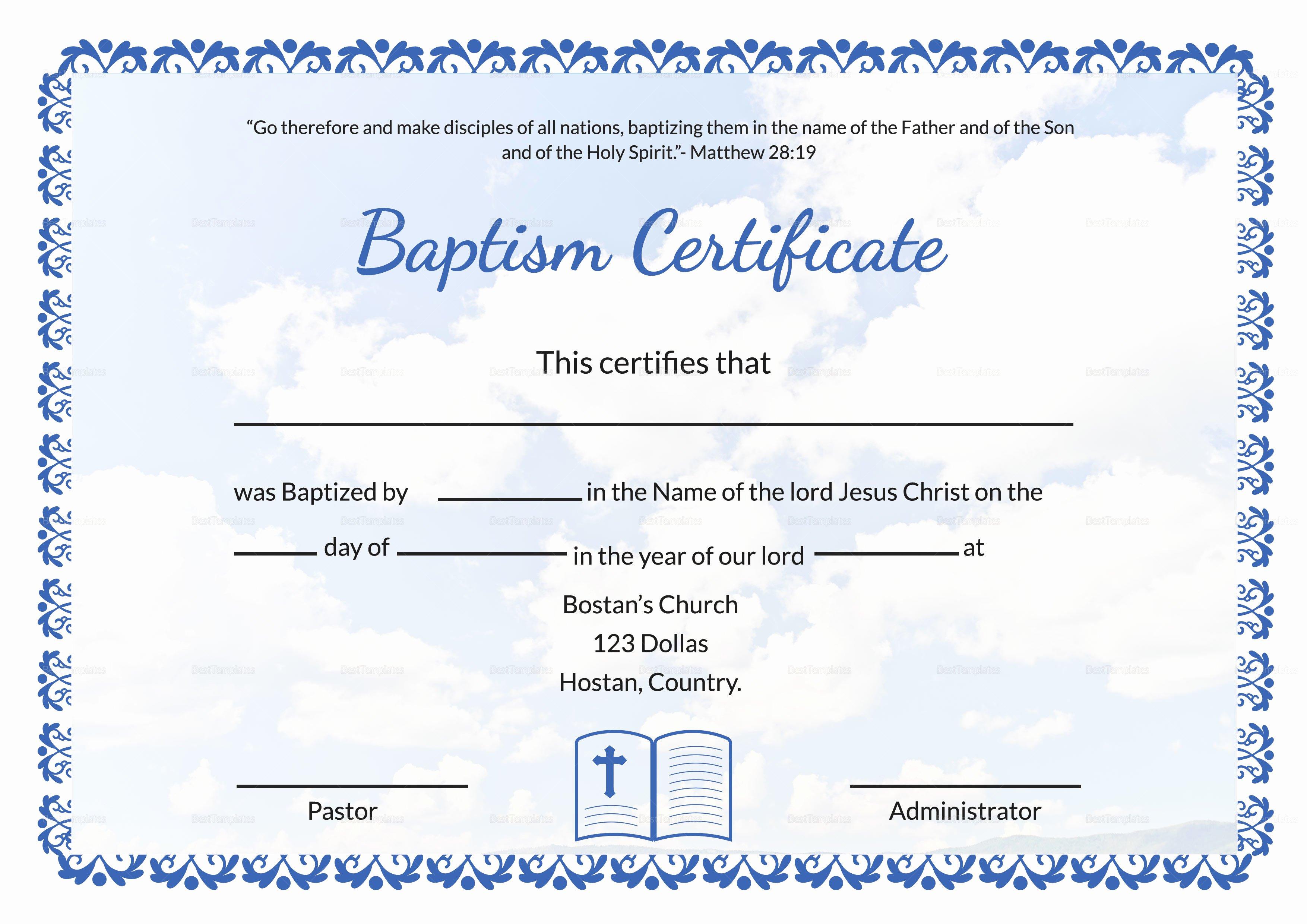 Catholic Baptism Certificate Template Luxury Baptismal Certificate Template Baptism Publisher Microsoft