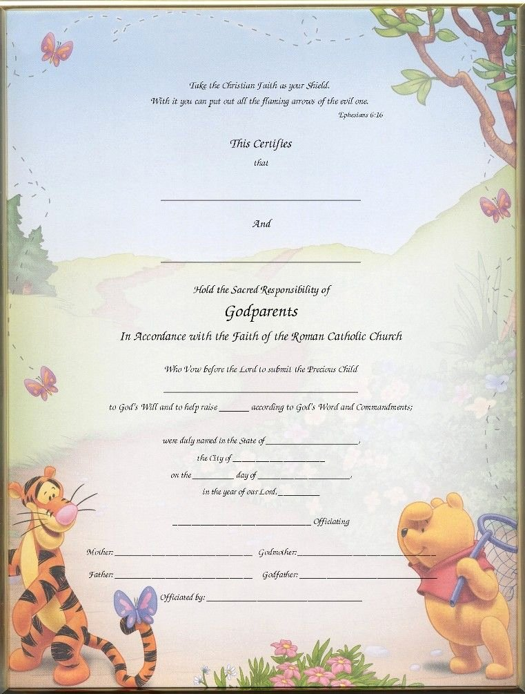 Catholic Baptism Certificate Template New Christening Certificates for Godparents