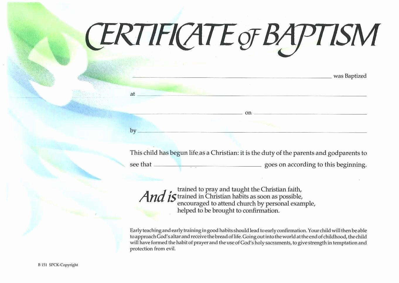 Catholic Baptism Certificate Template New Sample Baptism Certificate Templates