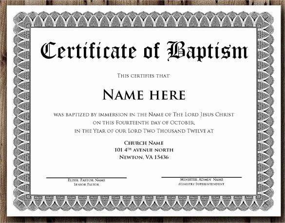 Catholic Baptism Certificate Template Unique 14 Baptism Certificate Templates – Samples Examples