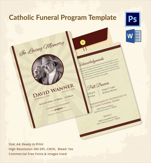 Catholic Funeral Program Template Beautiful 13 Sample Catholic Funeral Program Templates