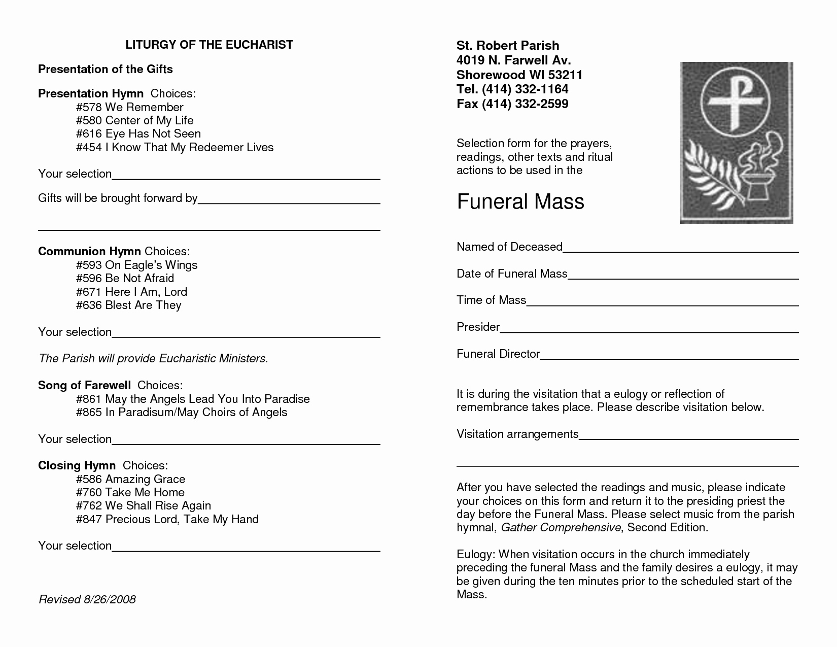 Catholic Funeral Program Template Best Of 9 Best Of Catholic Funeral Program Template