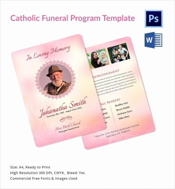 Catholic Funeral Program Template Inspirational 13 Sample Catholic Funeral Program Templates
