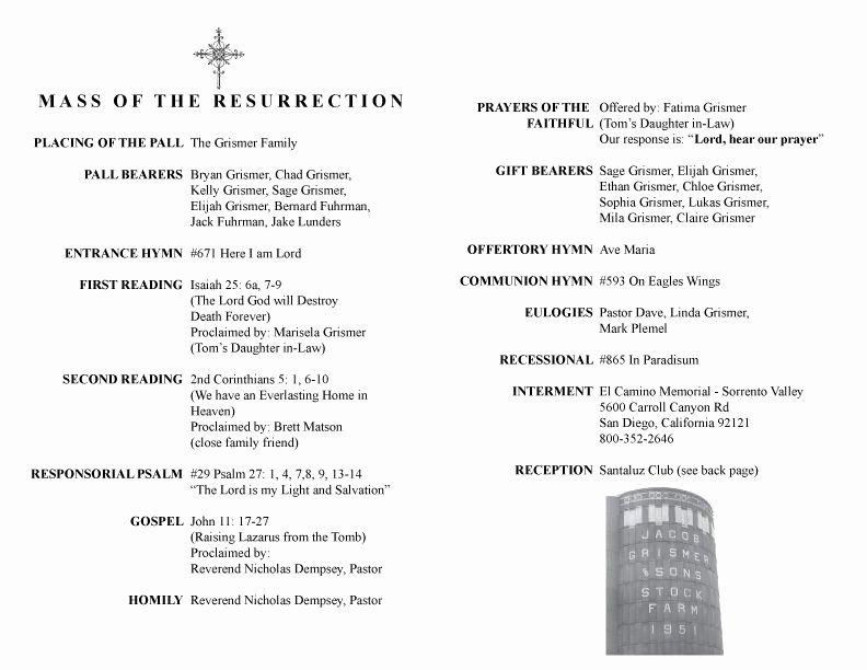Catholic Funeral Program Template Inspirational Catholic Funeral Programs the 8 Secrets About Catholic