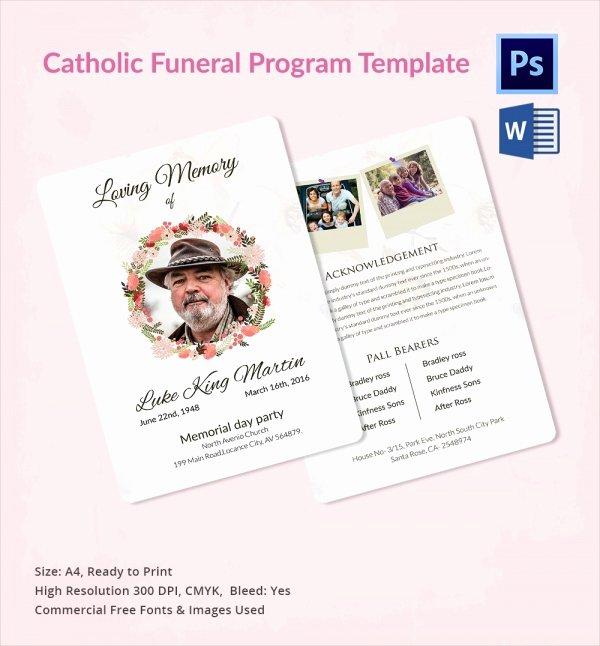 Catholic Funeral Program Template Luxury 13 Sample Catholic Funeral Program Templates