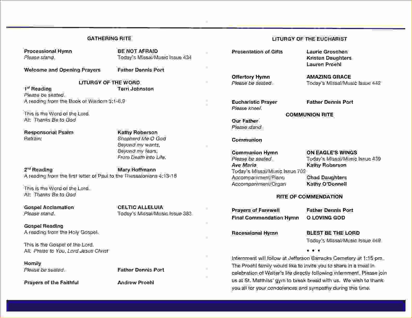 Catholic Funeral Program Template Unique Catholic Funeral Service Program Template Templates
