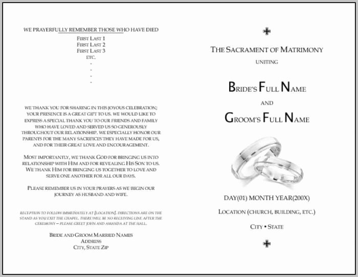 Catholic Mass Program Template Best Of Catholic Wedding Mass Program Template Resume Examples