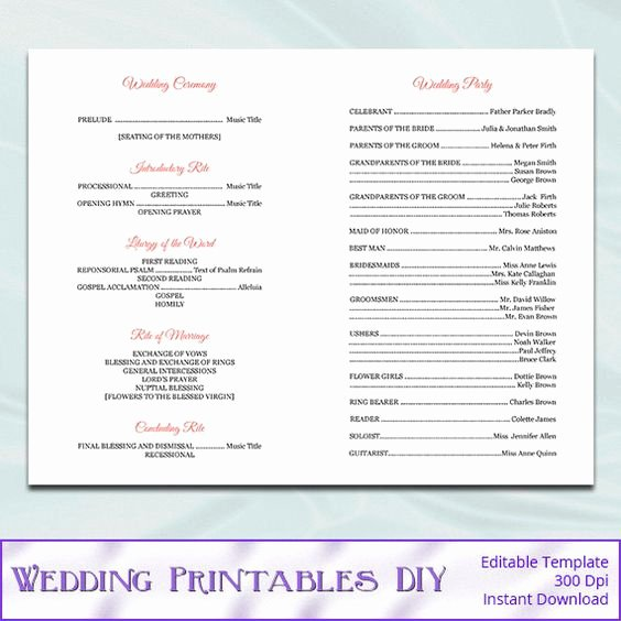 Catholic Mass Program Template Best Of Program Template Wedding Program Templates and Wedding On