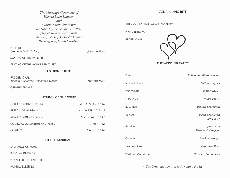 Catholic Mass Program Template Inspirational 30 Of Catholic Wedding Ceremony Template