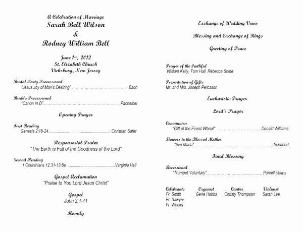 Catholic Mass Program Template Inspirational 7 Best Of Wedding Anniversary Program Template