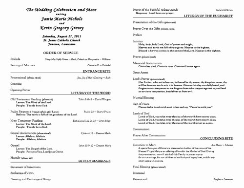 Catholic Mass Program Template Inspirational Free Catholic Wedding Program Template 6