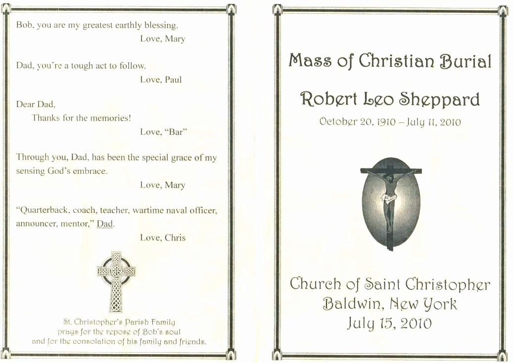 Catholic Mass Program Template Luxury Funeral Mass Program Catholic Wedding Templates Best