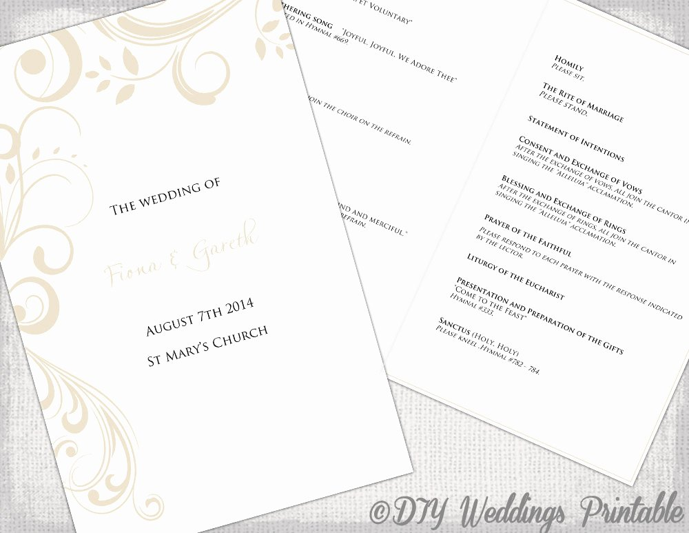 Catholic Wedding Program Template Awesome Catholic Wedding Program Template by Diyweddingsprintable