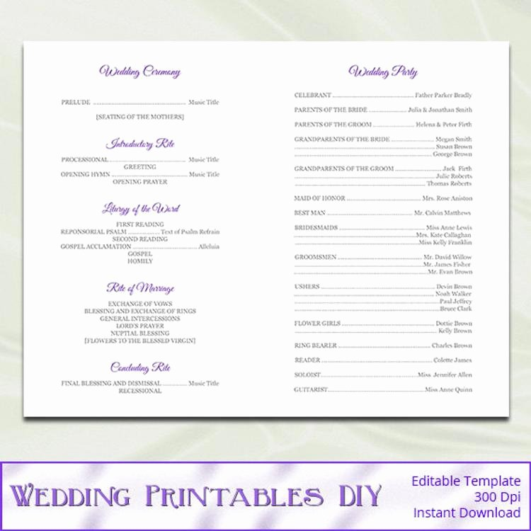 Catholic Wedding Program Template Elegant Catholic Wedding Program Template Diy by Weddingprintablesdiy
