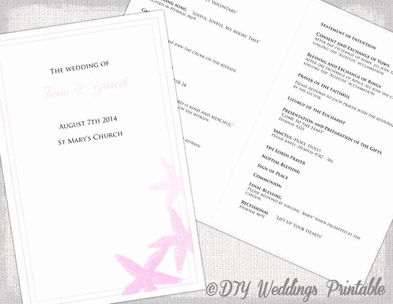 Catholic Wedding Program Template Elegant Catholic Wedding Program Template Pink Beach