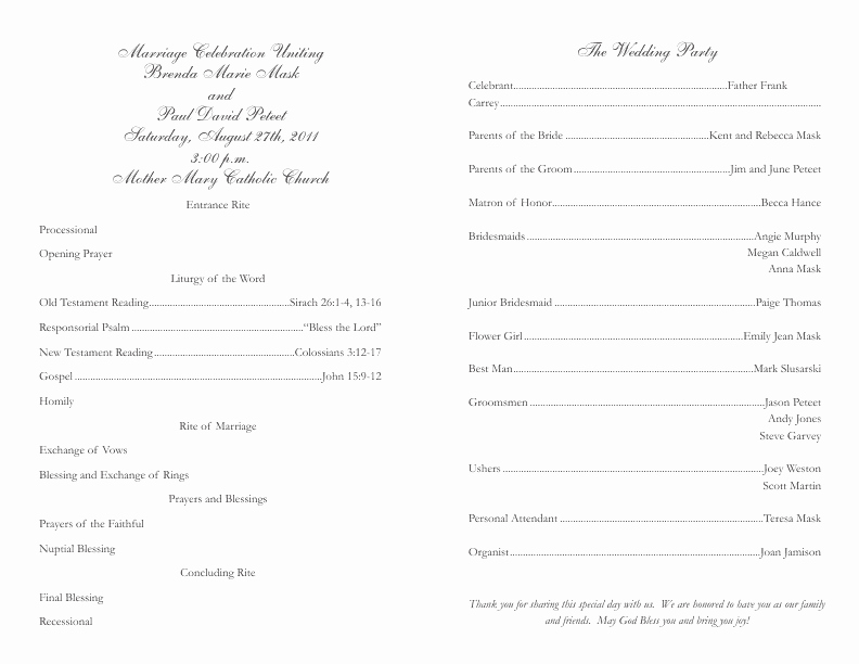 Catholic Wedding Program Template Lovely Catholic Wedding Program Template 2