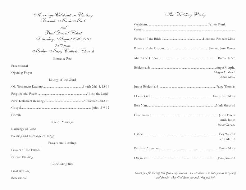 Catholic Wedding Program Template Lovely Catholic Wedding Program Template 2