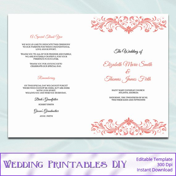 Catholic Wedding Program Template Lovely Catholic Wedding Program Template Diy Printable Coral order