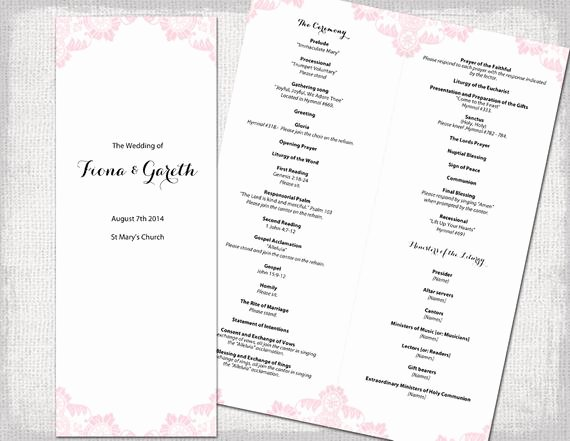 Catholic Wedding Program Template Lovely Catholic Wedding Program Template Powder Pink Antique