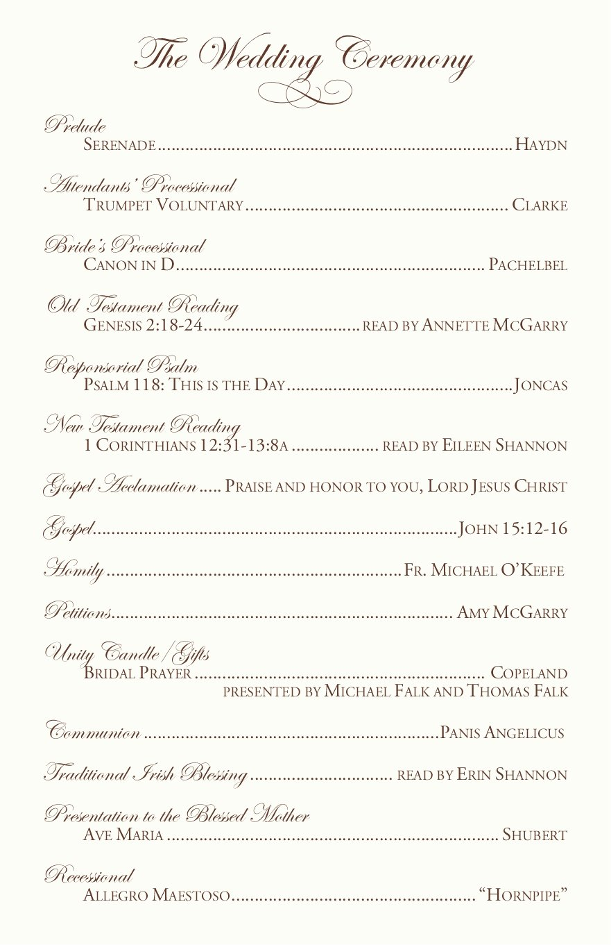 Catholic Wedding Program Template Lovely Clarnette S Blog Wedding Reception Table Ideas the Main