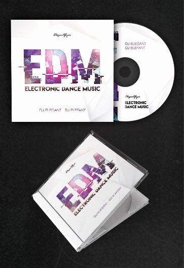 Cd Cover Template Psd Awesome Edm – Free Cd Cover Psd Template – by Elegantflyer