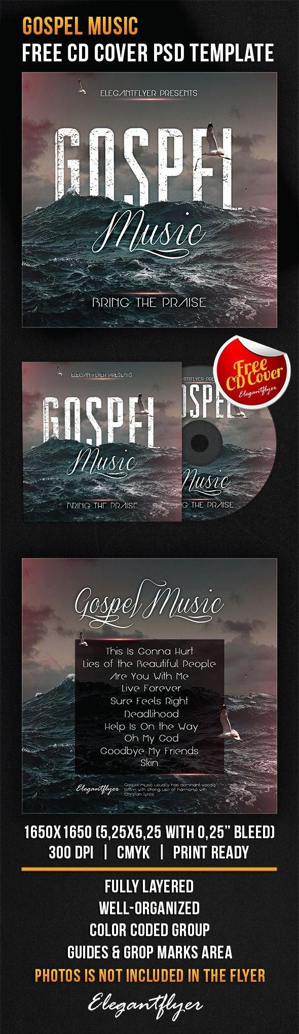 gospel music free cd cover psd template
