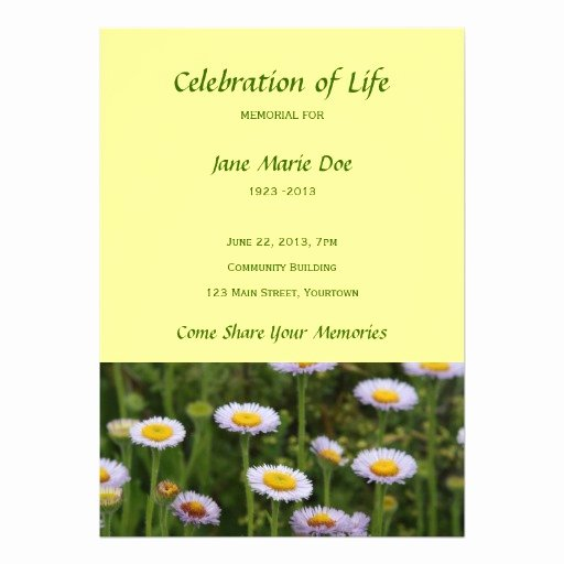 Celebration Of Life Template Awesome Memorial Celebration Of Life Flowers Personalized