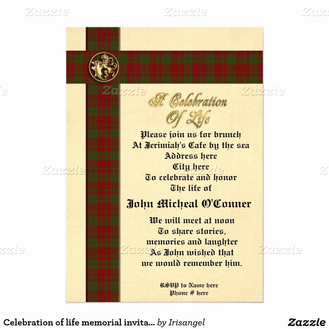 "Celebration Of Life Template Elegant Celebration Of Life Memorial Invitation for Man 5"" X 7"