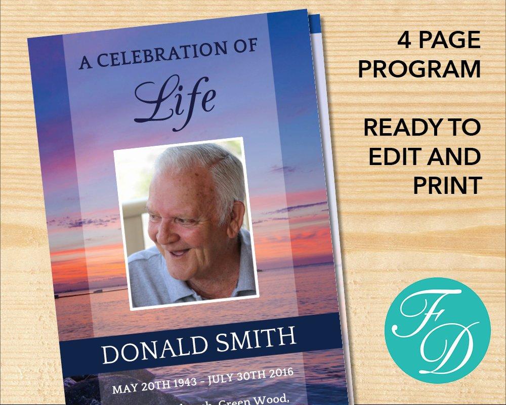 Celebration Of Life Template Elegant Celebration Of Life Printable Funeral Program Template