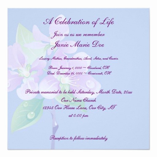 Celebration Of Life Template Fresh Celebration Of Life 5 25x5 25 Square Paper Invitation Card