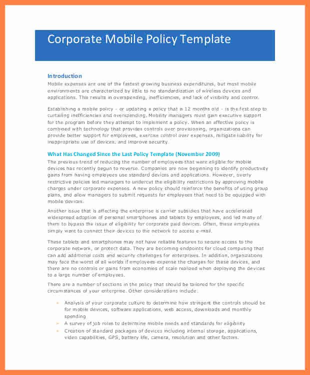 Cell Phone Policy Template Best Of 7 Pany Policy Template
