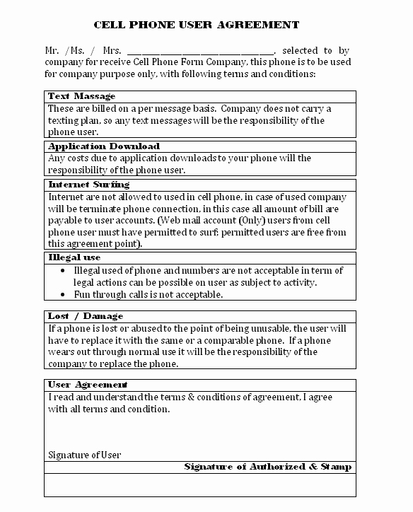 Cell Phone Policy Template Best Of Pany Cell Phone Agreement