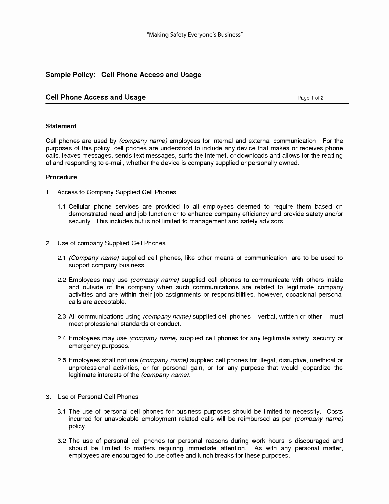 Cell Phone Policy Template Elegant Free Printable Cell Phone Policy form Generic