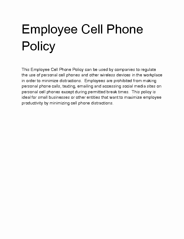 Cell Phone Policy Template Elegant Wel E to Docs 4 Sale