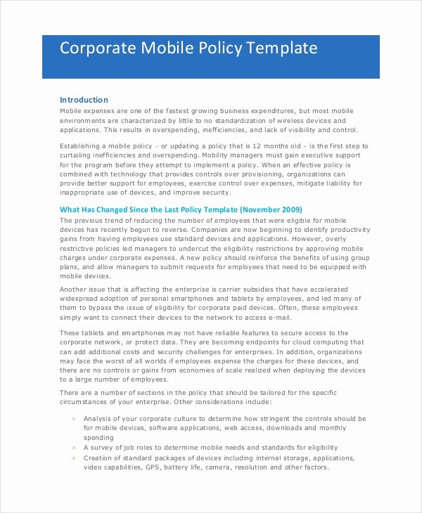 Cell Phone Policy Template Luxury Pany Policy Template 14 Free Pdf Documents Download