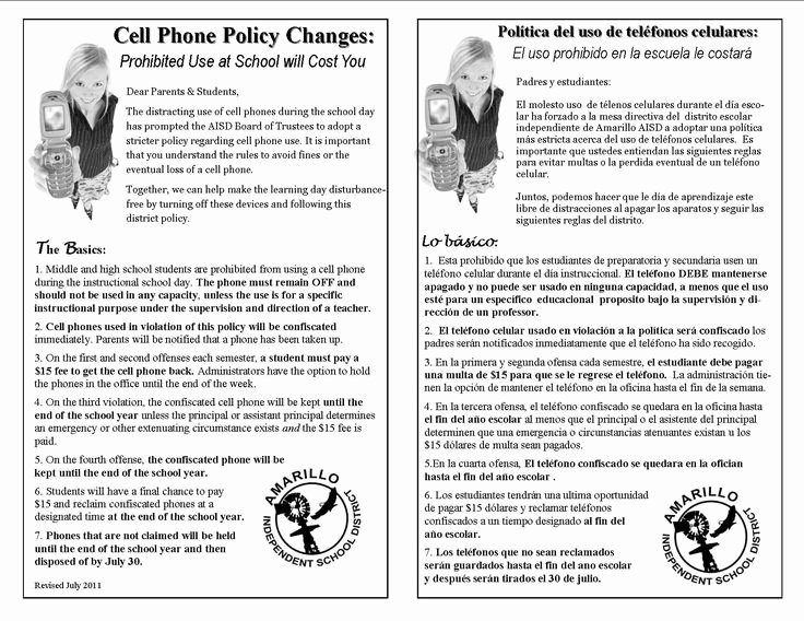 Cell Phone Policy Template New Printable Sample Cell Phone Policy form