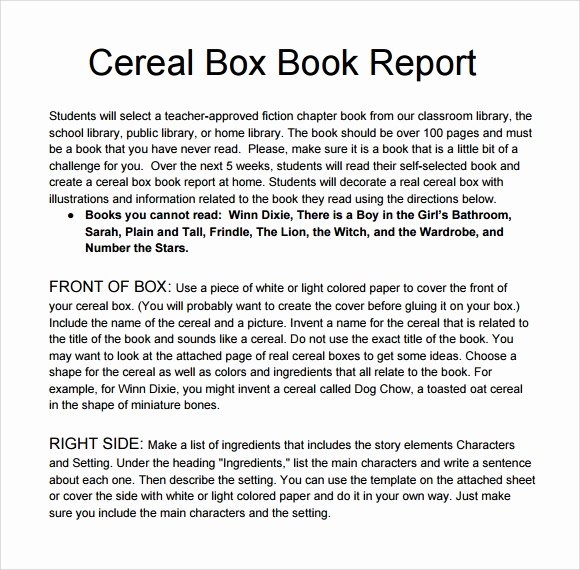 Cereal Box Project Template Awesome 9 Sample Cereal Box Book Reports