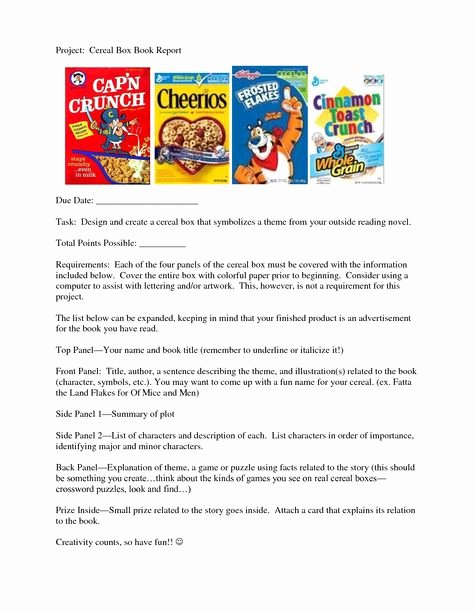 Cereal Box Project Template New Book Reports On Pinterest