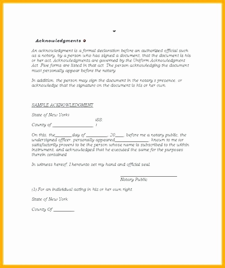 Certificate Of Acknowledgement Template Inspirational Notary Acknowledgement Template Notary Template Word