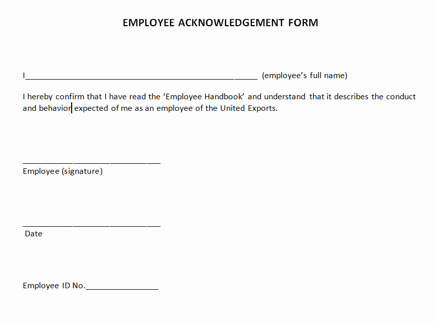 Certificate Of Acknowledgement Template New Manage Employee Acknowledgement forms with Docread and