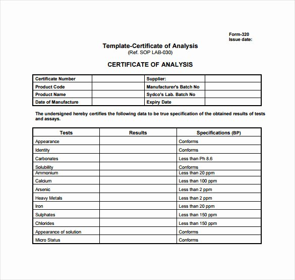 Certificate Of Analysis Template Awesome Certificate Of Analysis Template 10 Free Download