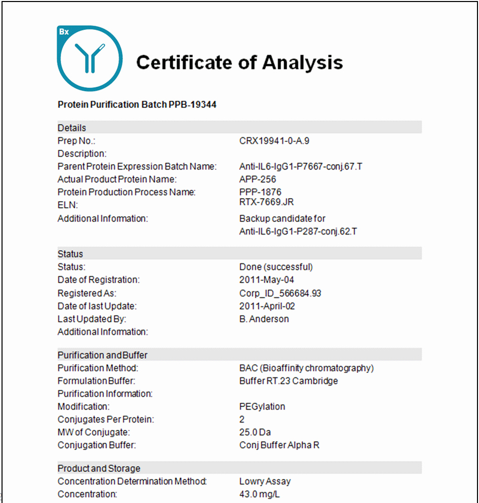 Certificate Of Analysis Template Awesome software for Biologics Cell Line Development Expression