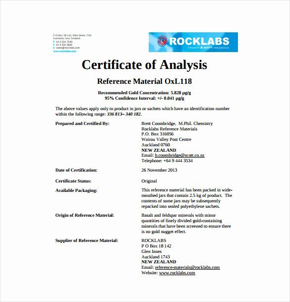 Certificate Of Analysis Template Best Of 11 Sample Certificate Of Analysis Templates to Download