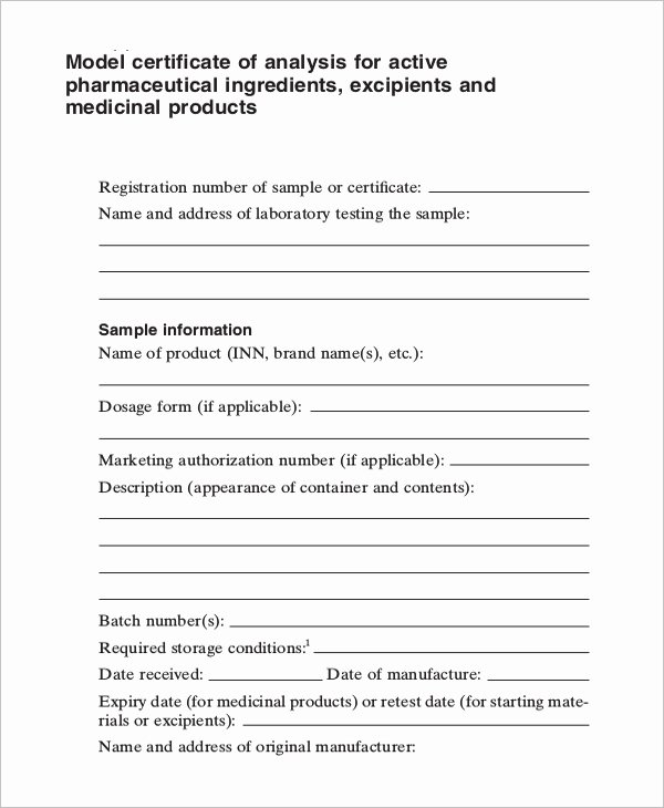 Certificate Of Analysis Template Elegant Certificate Of Analysis Template 7 Free Word Pdf