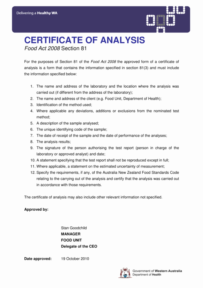 Certificate Of Analysis Template Elegant Certificate Of Analysis Templates 5 Samples for Word