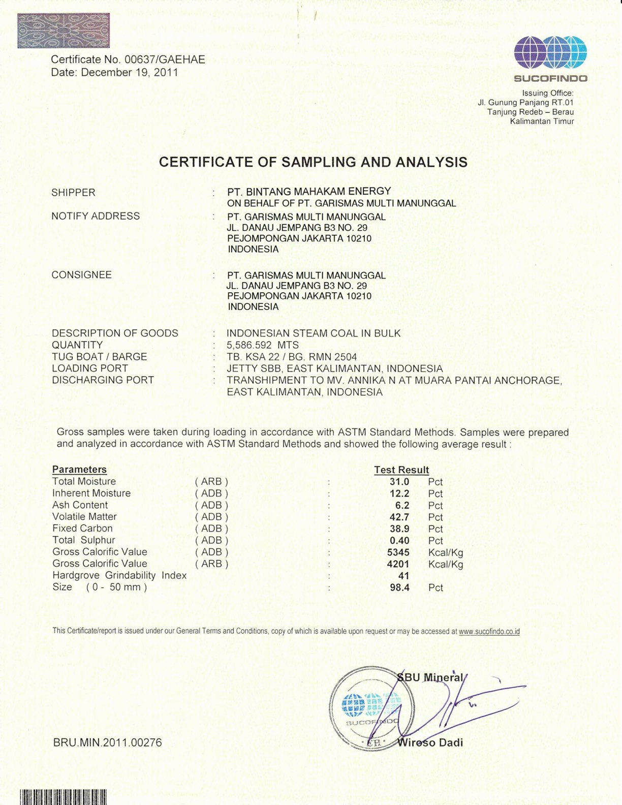 Certificate Of Analysis Template Elegant Rezeki Alam Ca K